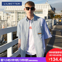 Lilbetter short sleeve shirt male Korean version of the fairy shirt trend loose design sense male half sleeve tide short sleeve