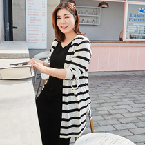 Lixiu 2019 summer new large size womens casual wild striped thin fat sister loose cardigan sweater