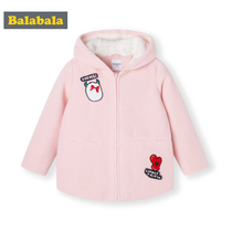 Balabala childrens clothing girls woolen jacket autumn and winter 2019 New childrens coat baby hooded jacket thick women