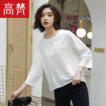 Gao Vatican 2019 spring and summer new womens fashion solid color Korean loose seven-point sleeve T-shirt female short-sleeved splicing shirt