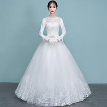 d9709c9d677d8cf Свет свадебное платье 2019 новый зима невеста одно плечо с длинным рукавом  Хепберн ветер беременные женщины