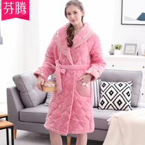 Finn Pajamas Female Winter Coral velvet cotton pure color medium long robe cute bathrobe warm and thickened home clothes