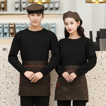 Waiter overalls long-sleeved women's hotel catering hot pot tea shop supermarket staff clothing custom sweater suit
