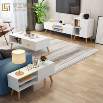Nordic TV cabinet modern minimalist bedroom small apartment mini coffee table side combination living room TV cabinet floor cabinet