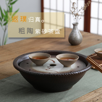 Japanese Zen small ceramic tea plate home round water storage kung fu tea sea coarse ceramic dry bubble water storage tea tray.