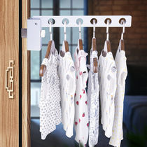 Household indoor hanging pole stainless steel balcony fixed drying rack window frame outdoor drying clothes free punch
