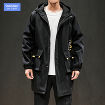 Fat mens long coat loose plus fertilizer to increase the size of the windbreaker Korean version of the trend of spring and autumn hooded coat tide
