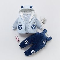 Autumn and winter clothes men and women baby clothes winter baby children cotton suit infant jacket three-piece set 0-1-2 years old