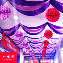 Ribbon Decoration wave flag pull flower decoration supplies jewelry shop hanging flag Holiday Shop Shopping Mall opening decorations