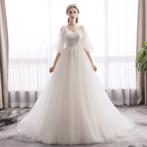 Sen Department of light wedding 2019 new bride French retro Hepburn Super Xian thin out of the yarn simple dream tail