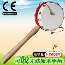 Wood rattle leather baby hand drum wooden toys newborn childrens goods lang drum wooden childrens small drum