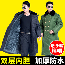 Military coat cotton coat male Winter thick long coat Security black winter clothes cold storage cotton jacket