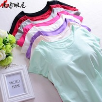 With chest pad short-sleeved half-sleeved T-shirt female vest yoga sports no rims free bra cup one underwear