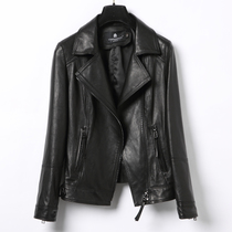 2019 spring and autumn new short paragraph leather leather sheepskin suit lapel motorcycle jacket slim coat was thin