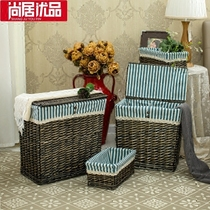 Huangshangju Excellent collection basket rattan storage basket knitting frame dirty clothes basket wicker separate laundry basket clothes dirty clothes basket