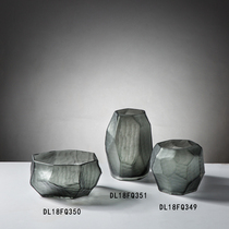 Simple modern personality creative gray glass cutting decorative ornament tabletop vase craft decoration.