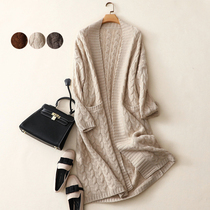 Heavy thick twisted rope autumn new womens coat loose wild pure cashmere cardigan sweater womens jacket knit