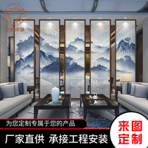 Art glass partition screen clip clip new Chinese mountain water ink painting clip glue 5 plus 5 6 plus 6 tempered glass.