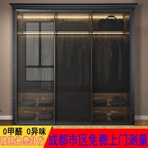 Black tempered gray transparent glass door wardrobe push-pull door tea closet door wardrobe minimalist flat open door custom.