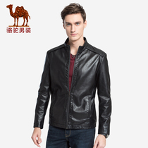 Camel mens 2018 autumn new youth fashion slim collar PU leather casual leather jacket men