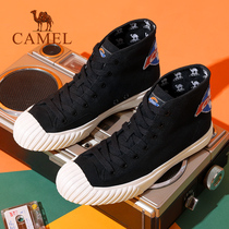 Camel mens shoes 2019 summer new breathable high help canvas shoes mens trend anti-odor board shoes casual shoes
