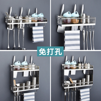 Stainless steel kitchen rack wall-mounted type-free hole storage knife rack multi-layer seasoning frame spatula rack kitchenware supplies