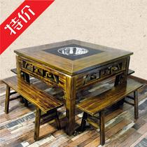 Antique carved solid wood hot pot table and chair cabinets marble hot pot Tables Dragons kan hot pot tables and chairs square table and chair