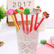 Christmas gifts Christmas cartoon children gifts Santa Claus rubber head pencil school supplies prizes gifts