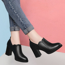 Shoes womens shoes autumn 2019 new shoes autumn and winter single shoes wild high heels thick heel black work shoes