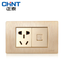 New Zhengtai electrician 118 switch socket NEW5D brushed gold embedded steel frame two one-plug computer socket