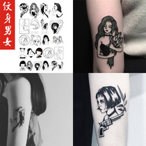 23 stickers men and women dark tattoo stickers small arm killer tattoo stickers black and white beauty girl flower arm