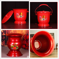 Wedding supplies stainless steel enamel spittoon high foot thickening plastic red dowry makeup children and grandchildren bucket urine bucket