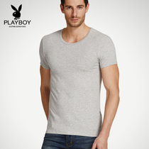 Playboy T-shirt mens cotton round neck youth breathable loose summer T-shirt mens short-sleeved old man shirt