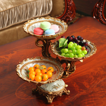 European-style large multi-layer fruit plate creative grid tray living room decoration dessert plate dried fruit plate snack candy plate