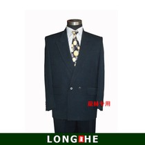 Long he Brand discount middle-aged dark blue suit coat plus fat code double-breasted coat off code