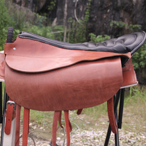 Saddle for two saddle yellow leather saddle tourist saddle safety handrail integrated saddle Art Supplies bridle reins