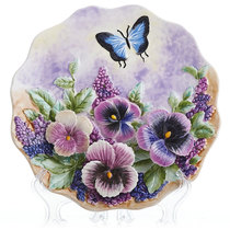 Ceramic hand-painted pastoral hanging plate decorative plate home wall pendant wall ornaments pendulum ornaments on the dove to the bird butterfly