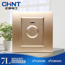 CHiNT electrical steel frame wall switch socket panel NEW7L champagne golden touch delay panel