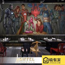Marvel Captain America bedroom wallpaper complex Spider-Man Cafe Fresco Cafe KTV theme box wallpaper