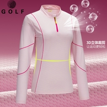 Golf clothing womens long-sleeved T-shirt sunscreen breathable light golf long-sleeved T-shirt autumn collar polo shirt