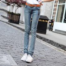 2019 autumn retro new Korean version was thin low-rise jeans women slim tight stretch feet zipper pants