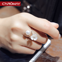 Camomey jewelry elegant mother flower freshwater pearl opening ring female Korean fashion index finger ring tail ring