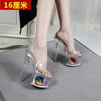 Transparent word cool slippers female 16 cm fine with Crystal super high with thick bottom flower nightclub show catwalk Europe and the United States