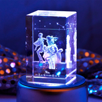 Twelve constellation 3D carved crystal ornaments glowing colorful girlfriend girl birthday gift creative music box