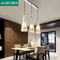 Restaurant chandelier three modern simple small table lamps Home creative personality led Crystal Nordic dining room lamp