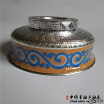 Mongolian Bowl toast bowl stainless steel bowl Mongolia specialty tableware wooden bowl milk tea bowl hand-painted silver bowl dance Bowl props