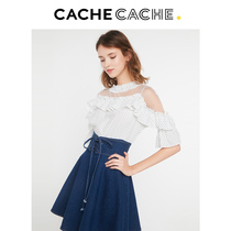 Cachecache fairy skirt spring new French short-sleeved retro mesh ruffle fake two pieces of denim dress