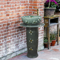 Column Basin balcony wash basin bathroom wash basin ceramic basin one wash basin floor Basin flower