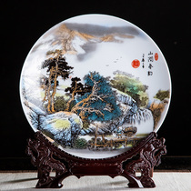Jingdezhen ceramic ten-inch mountain spring rhyme decorative hanging plate sitting plate home bogus office craft ornaments