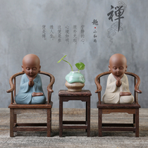 Yunshang creative tea pet pieces boutique can be raised purple sand small monk Zen pen pieces hand tea play tea set accessories